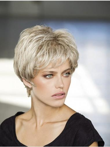"Layered Synthetic Platinum Blonde Wavy 8"" Monofilament Wigs For Women"
