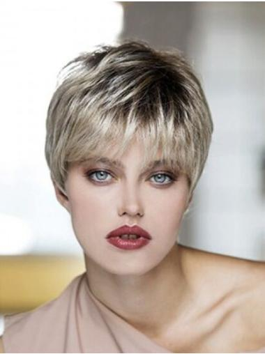 Blonde Synthetic Boycuts Straight Cropped Lace Front Wigs
