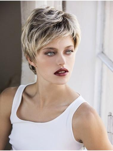 Blonde Synthetic Boycuts Wavy Short Lacefront Wigs