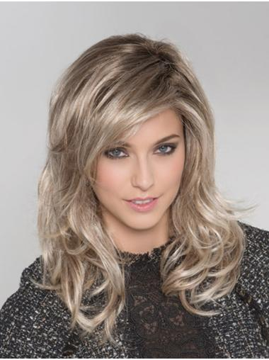 "Monofilament Blonde With Bangs 16"" Long Hair Wigs"