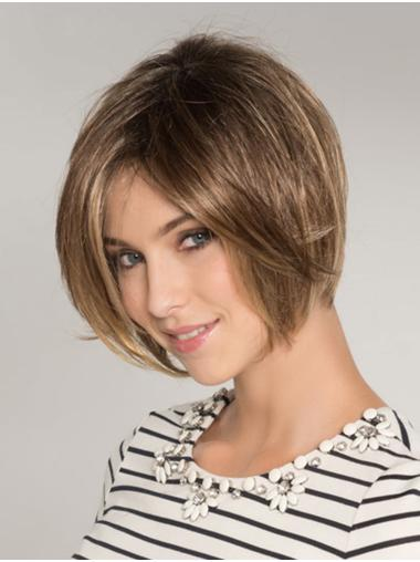 Blonde Synthetic Bobs Straight Chin Length Glueless Lace Front Wigs