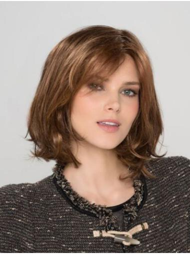 Auburn Synthetic Bobs Wavy Chin Length Custom Lace Front Wigs