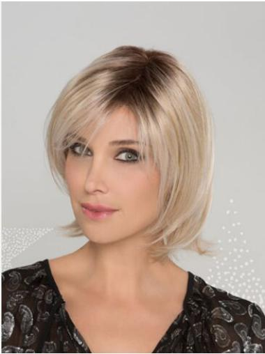 Blonde Synthetic Bobs Straight Chin Length Sleek Lace Front Wigs