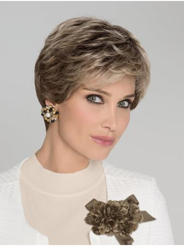 Wavy 100% Hand-tied Brown Short Classic Lady Wig