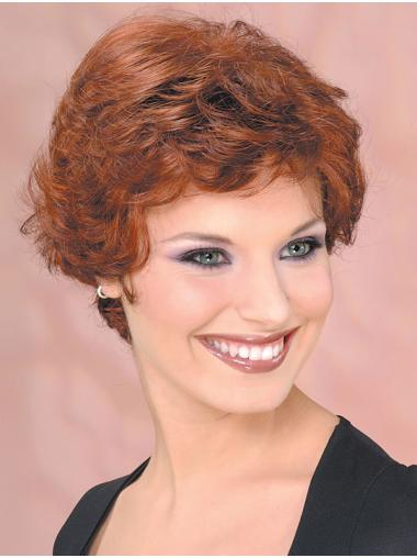 Synthetic Cropped Curly Auburn Beautiful Classic Wigs
