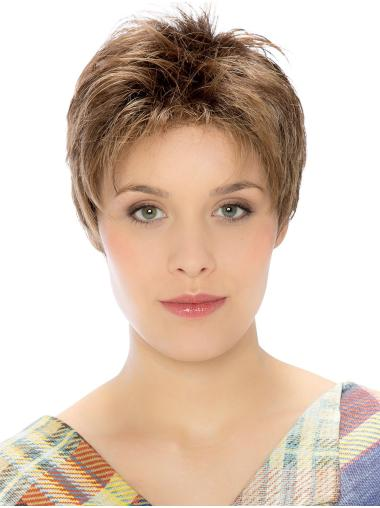 Brown Straight Lace Front Good Boycuts Synthetic Wigs