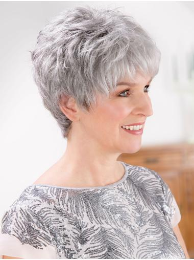 "8"" Short Straight Fashion Lace Front Grey Wigs"
