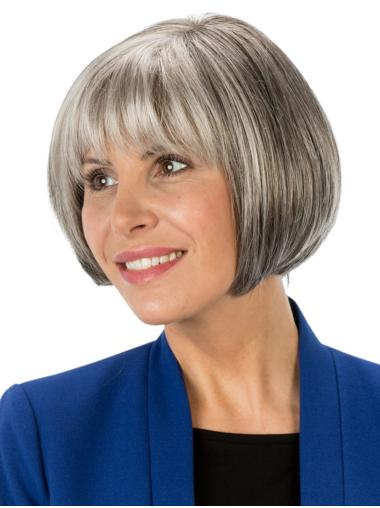 "8"" Short Straight Affordable Monofilament Grey Wigs"