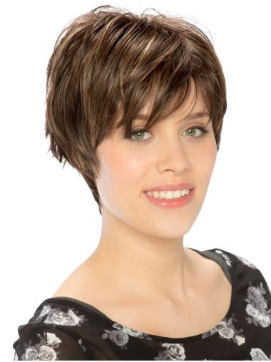 "Designed Monofilament Synthetic Straight 8"" Short Wigs"