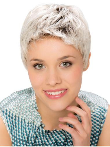 """6"""" Cropped Straight Modern Monofilament Grey Wigs"""