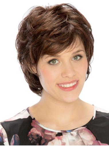 Wavy Short New Synthetic Brown Monofilament Wigs
