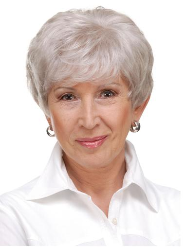 """6"""" Cropped Straight Durable Monofilament Grey Wigs"""