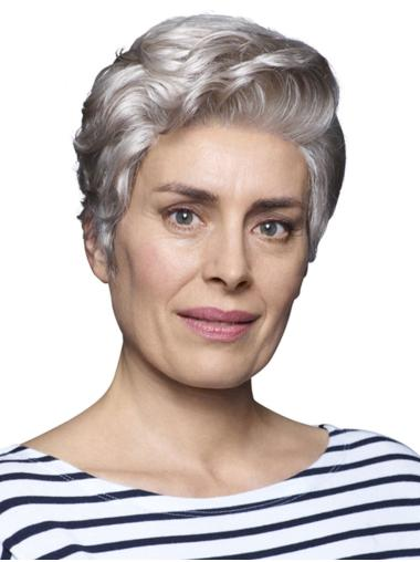 "6"" Cropped Wavy Perfect 100% Hand-tied Grey Wigs"