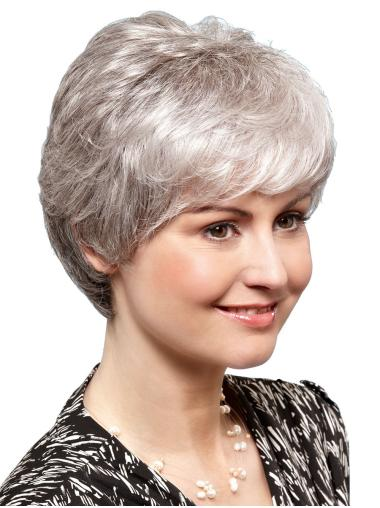 "8"" Short Straight Ideal 100% Hand-tied Grey Wigs"