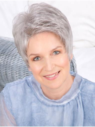 """6"""" Cropped Straight Fashionable Monofilament Grey Wigs"""