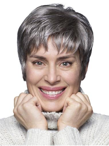 """6"""" Cropped Straight Style 100% Hand-tied Grey Wigs"""