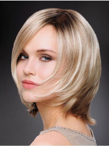 "Cheapest 12"" Chin Length Straight Blonde Bob Wigs"