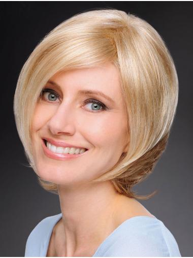 "Incredible 12"" Chin Length Straight Blonde Bob Wigs"