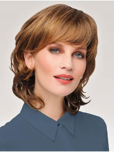 Wavy Chin Length Affordable Synthetic Auburn Monofilament Wigs