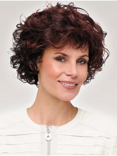 Curly Short Amazing Synthetic Auburn Monofilament Wigs