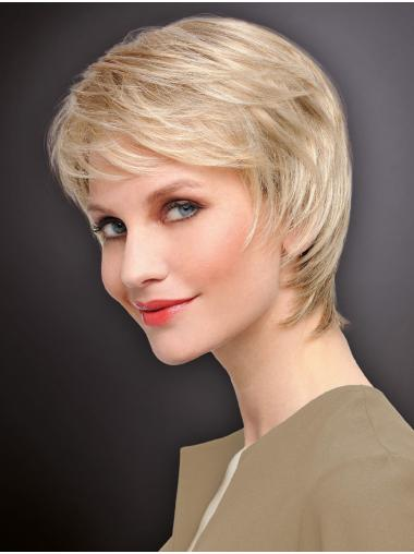 Blonde Straight Monofilament Sassy Boycuts Synthetic Wigs