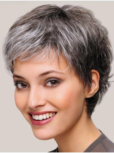 "8"" Short Straight Beautiful Monofilament Grey Wigs"