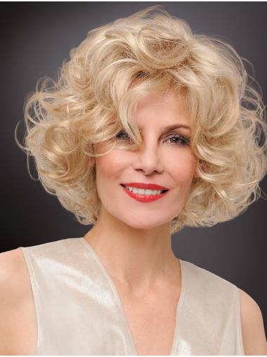 Curly Chin Length Designed Synthetic Platinum Blonde Monofilament Wigs