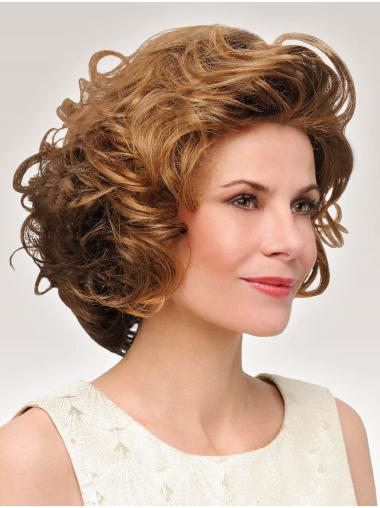 Curly Chin Length Flexibility Synthetic Brown Monofilament Wigs