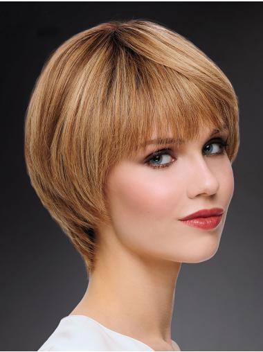 """100% Hand-tied 8"""" High Quality Blonde Bobs Human Hair Wigs"""