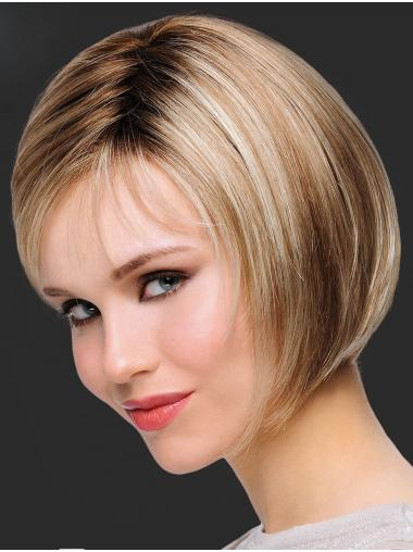 "Top 10"" Chin Length Straight Blonde Bob Wigs"