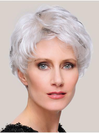"""6"""" Cropped Straight Stylish 100% Hand-tied Grey Wigs"""
