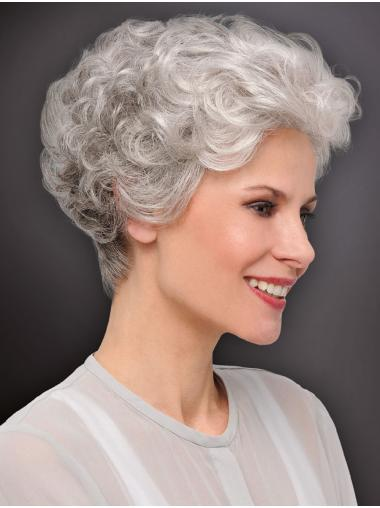 "6"" Cropped Curly New Monofilament Grey Wigs"