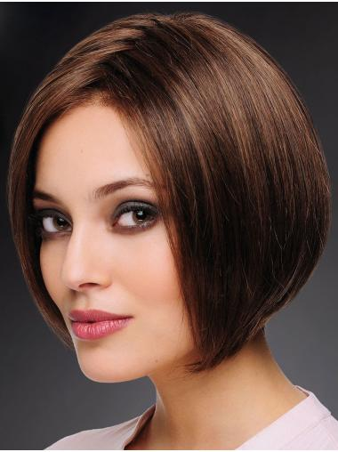 """100% Hand-tied 10"""" Trendy Brown Bobs Human Hair Wigs"""