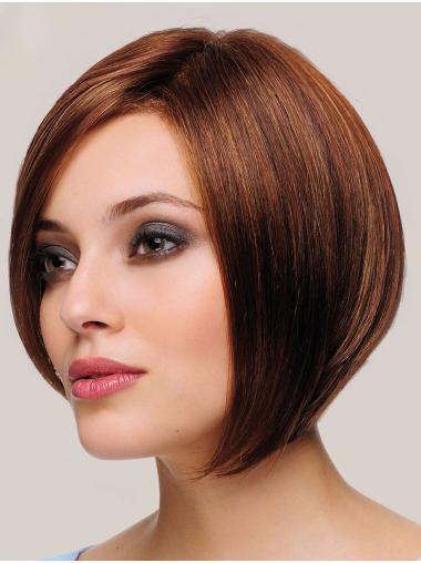 "Soft 10"" Chin Length Straight Brown Bob Wigs"