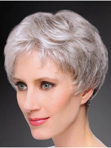 "8"" Short Straight Durable 100% Hand-tied Grey Wigs"