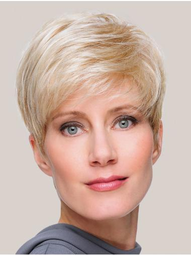 Blonde Straight Monofilament Fashionable Boycuts Synthetic Wigs