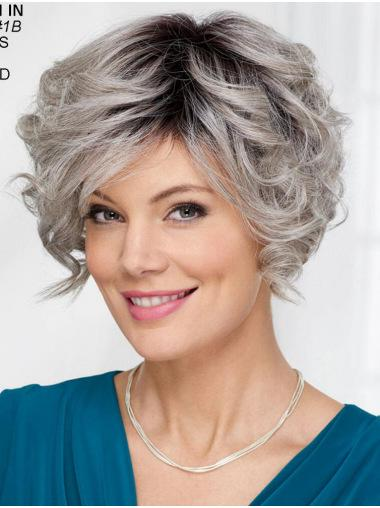 "New 8"" Short Wavy Synthetic Grey Wigs"