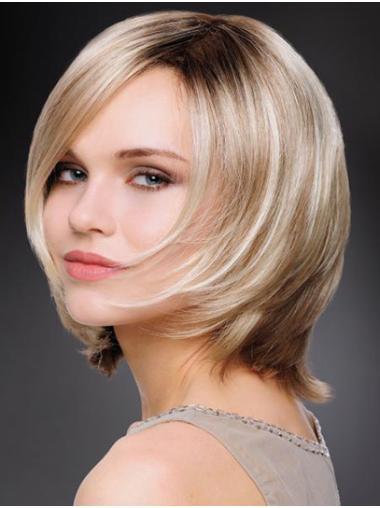 "Synthetic 10"" Straight Chin Length Platinum Blonde Wig Bob"