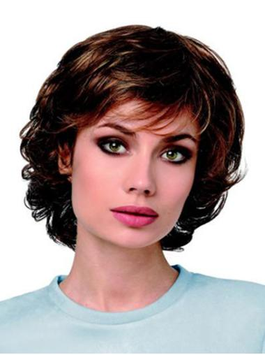 """Synthetic 10"""" Curly Chin Length Brown High Quality Classic Wigs"""