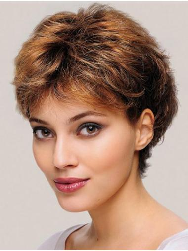 """6"""" Wavy Monofilament Synthetic Layered Short Wigs For Women"""