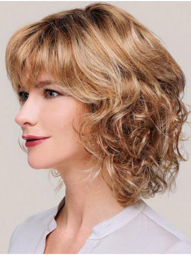 """Monofilament Blonde Chin Length Curly 12"""" With Bangs Synthetic Wigs For Women"""