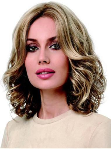 Shoulder Length Monofilament Curly Blonde Without Bangs Synthetic Medium Length Wigs
