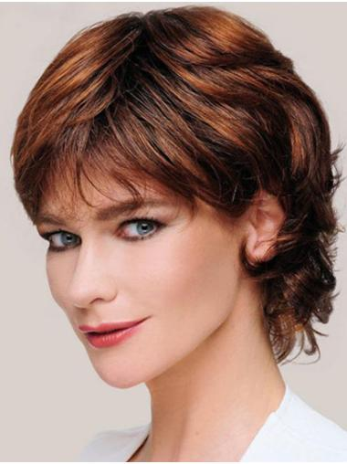"""6"""" Curly Monofilament Synthetic Layered Ladies Short Wigs"""