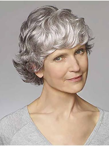 """Grey Wavy 8"""" Synthetic Classic Cheap Monofilament Wigs"""