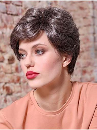 """6"""" Short Brown Wavy Synthetic Layered Lace Front Wigs For Sale"""