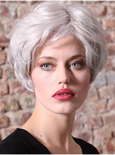 """Synthetic 8"""" Straight Short Grey Women Classic Wig"""