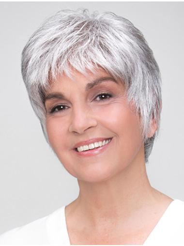 """100% Hand-tied Grey Short Straight 8"""" Boycuts Synthetic Wigs Good Quality"""