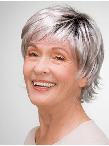 """Short 8"""" 100% Hand-tied Grey Synthetic Layered Elderly Women Wigs"""