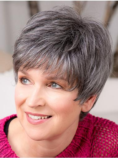 "Short 8"" Capless Grey Synthetic With Bangs Good Quality Elderly Women Wigs"