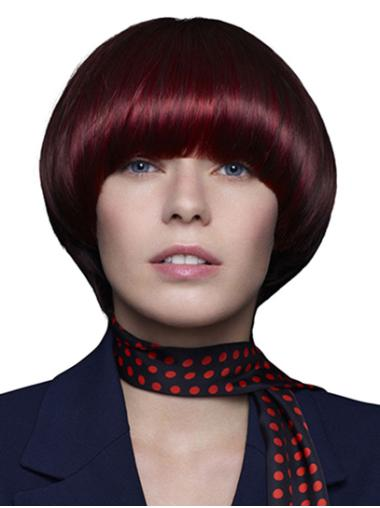 "Remy Human Hair 10"" Straight Chin Length Red Wigs Bobs"